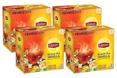 Lipton Black Tea Vanilla K-Cup Pack, 0.08 oz, 18 K-Cup Pods (4 Pack)