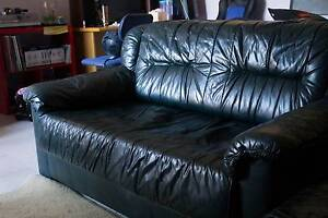 Green Leather Couches/ sofa Bass Hill Bankstown Area Preview
