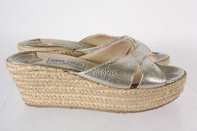 Jimmy Choo Gold Leather Woven Jute Open Toe Platform Slide Sandals Size 41 Gold Woven Platform