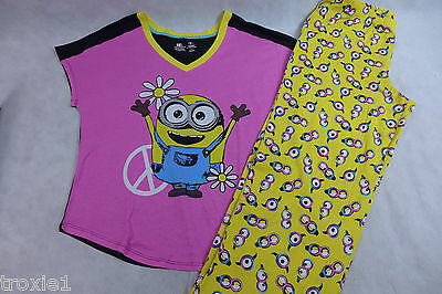 Womens Minion Pajamas Peace Sign Cotton Summer Despicable Me Top 1X Pant 2x New (Womens Minion Pajamas)