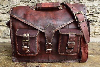 "Men's Genuine 15"" Vintage Brown Leather Messenger Shoulder Laptop Bag Briefcase"