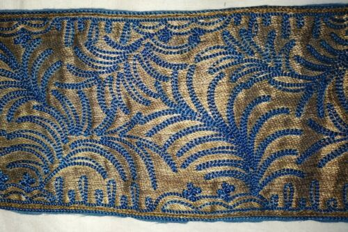 """ANTIQUE EMBROIDERED BLUE SILK/GOLD METALLIC PANEL FROM FLAPPER GOWN~16"""" x 4"""""""