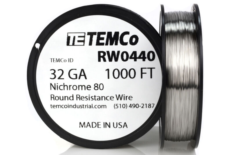 TEMCo Nichrome 80 series wire 32 Gauge 1000 FT Resistance AWG ga
