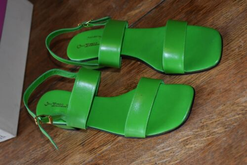 Vintage Gimbels Lime Green Leather Sandals, 9 narrow, Made in Italy, 1970s