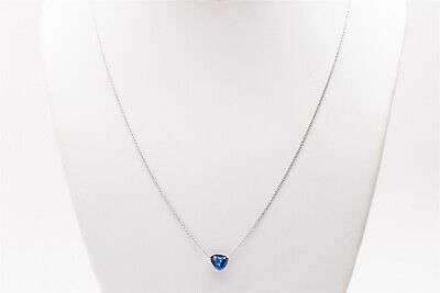 Designer $5000 1.25ct Natural NO HEAT Shield Cut BLUE Sapphire Platinum Necklace Blue Sapphire Platinum Necklace