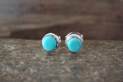 Zuni Indian Jewelry Sterling Silver Turquoise Post Earrings - K. Qualo