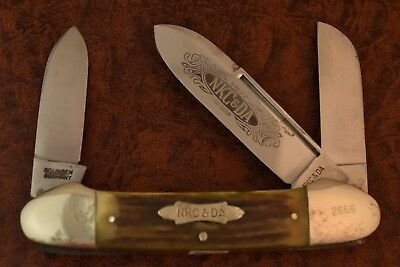VINTAGE KISSING CRANE NKCA 1977 STAG JUMBO GUNBOAT CANOE KNIFE 1/5000 (5048)