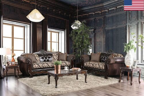 Living Room Furniture Brown 2pc Sofa Set Traditional Sofa Loveseat Leatherette