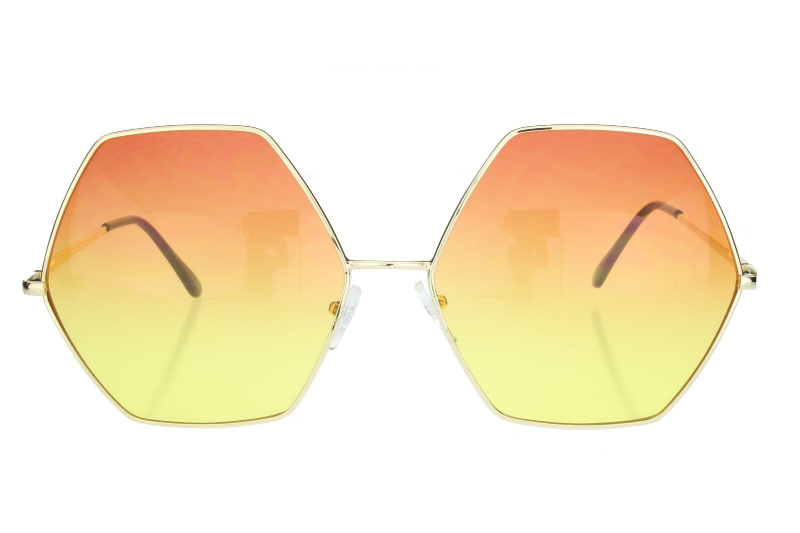 Womens Hexagon Sunglasses Oversized Fashion Metal Frame Orange ...