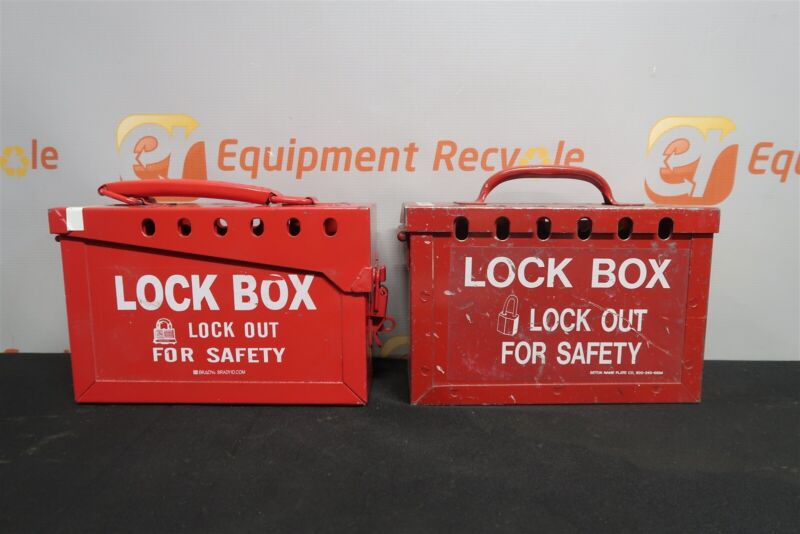 "Brady Portable Group Lock Lockout Box Red Steel 6""x9""x3.5"" 65699 Lot of 2"
