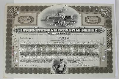 1929 International Mercantile Marine Stock Certificate~~5 Shares