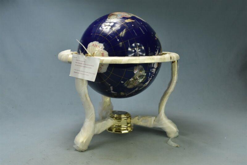 GEMSTONE TABLE TOP WORLD GLOBE BRASS STAND SEMI PRECIOUS STONE INLAID COMPASS