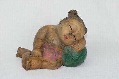 Vintage Carved Wooden Sleeping Girl Figurine
