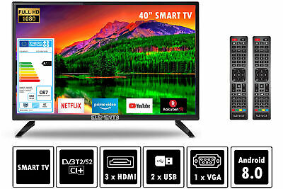 """Elements Fernseher LED Android Smart TV 40"""" Zoll Full HD DVB-T2/S2 2x Remote"""
