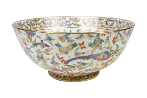 "Oriental Butterfly Bird Motif Porcelain Bowl 14"""