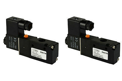 2x 12v Dc Solenoid Air Pneumatic Control Valve 3 Port 3 Way 2 Position 14 Npt