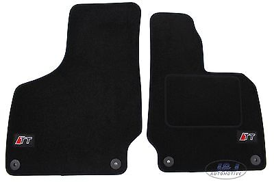 LUKAU005 TAILORED Black floor Car Mats with logo  Audi TT mk2 2006 2014  2pcs