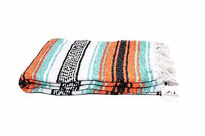 Mint and Orange Mexican Blanket Serape Throw, Mexican Yoga Boho Falsa Blanket XL