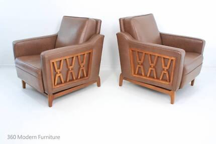 Mid Century Rudowski Armchair Pair Retro Vintage Lounge Chairs