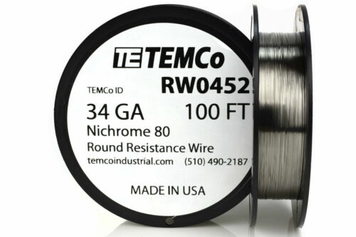 TEMCo Nichrome 80 series wire 34 Gauge 100 FT Resistance AWG ga