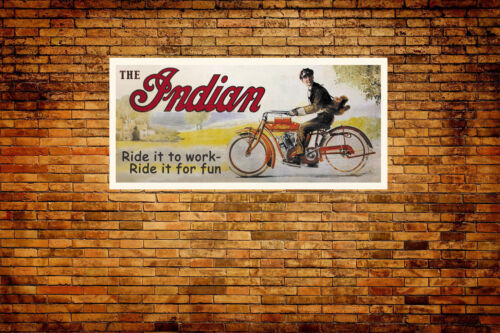 Indian Motorcycle Vintage Style Advertising Vinyl Banner 6ft x 2.8ft