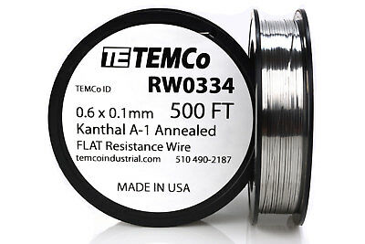 Temco Flat Ribbon Kanthal A1 Wire 0.6mm X 0.1mm 500 Ft Resistance A-1