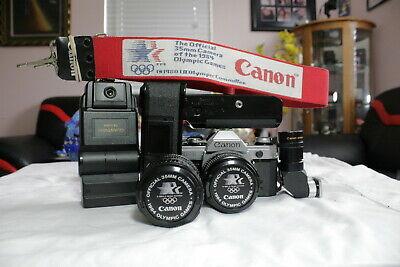 EX-RARE-Olympic84-Canon AE1 camera & 50/1.4 & 28-55/3.5 macro FD lens accessory