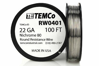 Temco Nichrome 80 Series Wire 22 Gauge 100 Ft Resistance Awg Ga