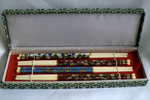 8-Vtg Oriental/Asian Cloisonne/Gilt Bovine Bone Chopsticks-4-Pairs-Silk Box