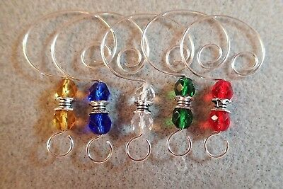(=^..^=   10 Color Glass Bead Ornament Hangers Hooks silver )