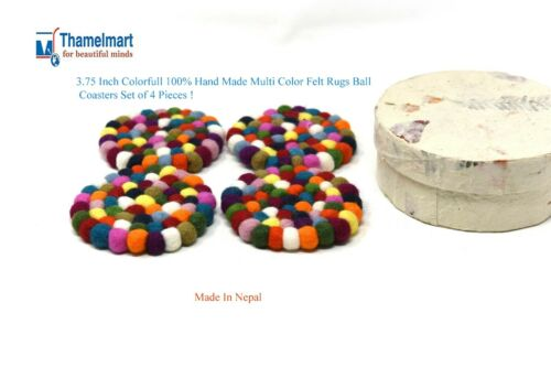 3.75 Inchs Multi  Color Felt Rugs Ball Coasters  Set of 4 Including  Paper Box
