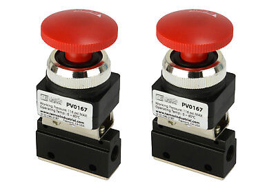 2x Latching Push Button Pneumatic Control Valve 2 Port 2 Way 2 Position 18 Npt