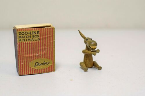 VINTAGE ZOO LINE Wood Matchbox Donkey Made in Japan 1959