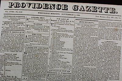 Providence Ri Gazette September 4  1822  Local News  Ads  Letters Merchants