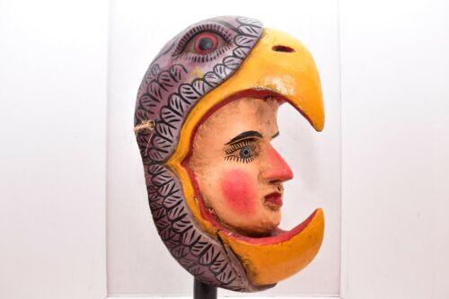 "RARE HUGE MEXICAN GUERRERO FOLK ART ANTIQUE EAGLE FACE 15"" LARGE WOOD DANCE MASK"
