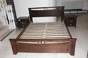 Queen Size Wood  Bed+ beside table excelent condition Bridgeman Downs Brisbane North East Preview