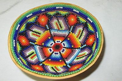 VINTAGE NATIVE AMERICAN INDIAN beaded hand crafted GOURD BOWL