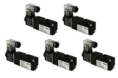 5x 24v Dc Solenoid Air Pneumatic Control Valve 3 Port 3 Way 2 Position 18 Npt