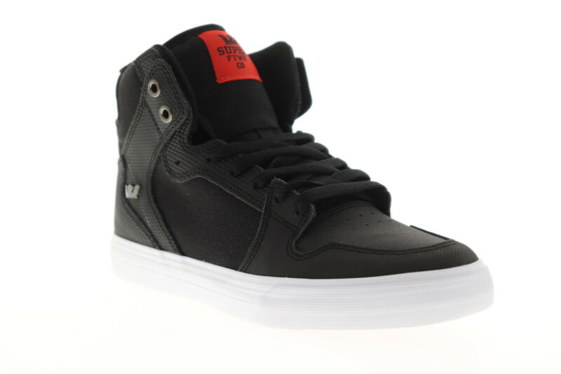 Supra Vaider 08204-039-M Mens Black Leather Athletic Surf Skate Shoes