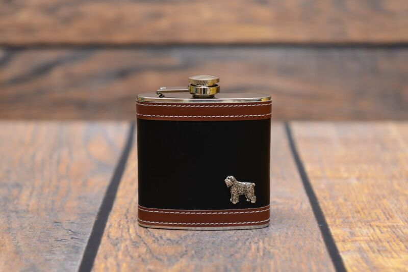 Bouvier - flask with image of a purebred dog, high quality, Art Dog USA