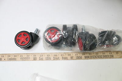 Gaming Chair Casters Redblack - 5 Pack