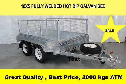 10x5 FULLY WELDED HOT DIP GALVANISED TRAILER 2000 KG GVM