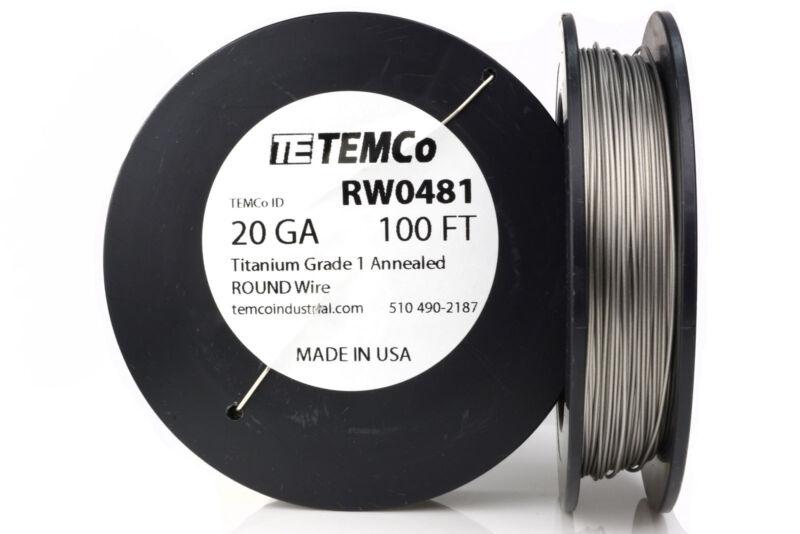 TEMCo Titanium Wire 20 Gauge 100 FT Surgical Grade 1 Resistance AWG ga
