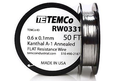 Temco Flat Ribbon Kanthal A1 Wire 0.6mm X 0.1mm 50 Ft Resistance A-1