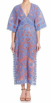 TORY BURCH Michaella Guipure Lace Trimmed Crochet Dress Runway Size 2 NWT $1,795