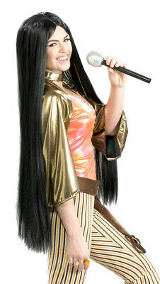 60's Babe Wig Long Black Cher Inspired Hippie Witch
