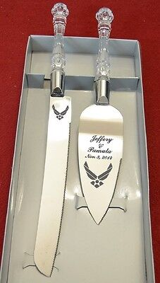 Air Force  Wedding cake Knife and Server,   Free Names and - Air Force Wedding Cake