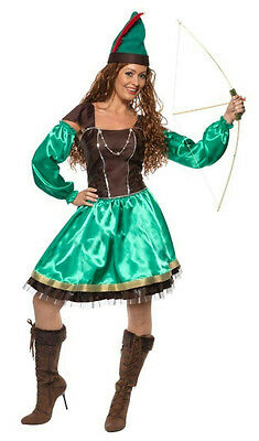 Smiffy's Womens Robyn Robin Hood Adult Ladies Costume Dress and Hat Medium 10-12 - Womens Robin Costumes