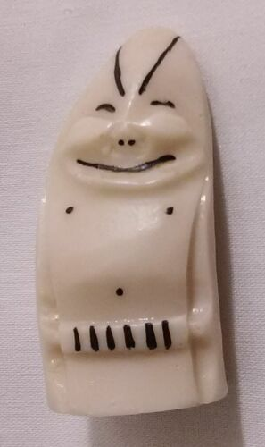 """Vintage Inuit Billiken Eskimo Faux Whale Tooth Carved Good Luck Charm 2.25"""" Tall"""