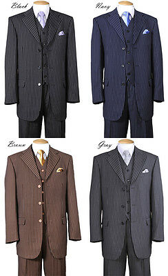 New Men's Classic Gangster Stripe Wool Feel Suits w/ Vest and Pants - Gangster Vest